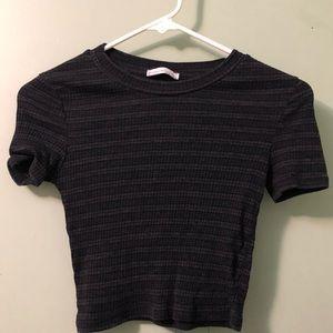 Black/grey striped crop top